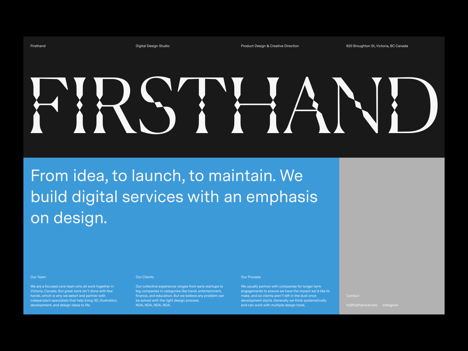 Firsthand landing page design